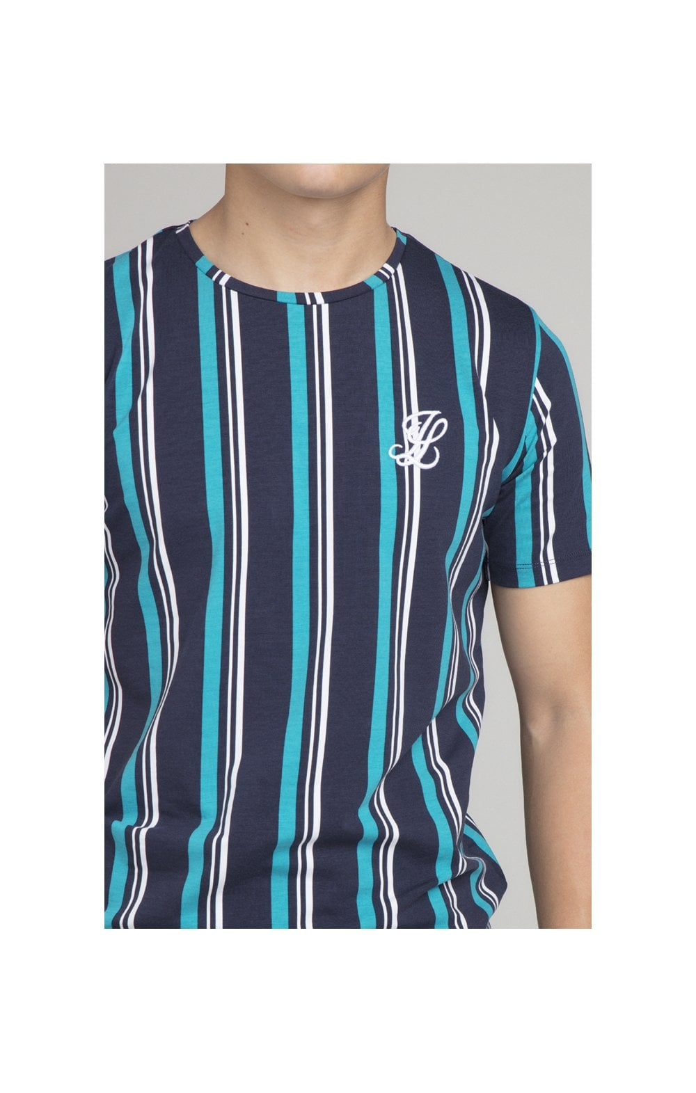Load image into Gallery viewer, Illusive London Stripe Tee - Navy & Teal (2)
