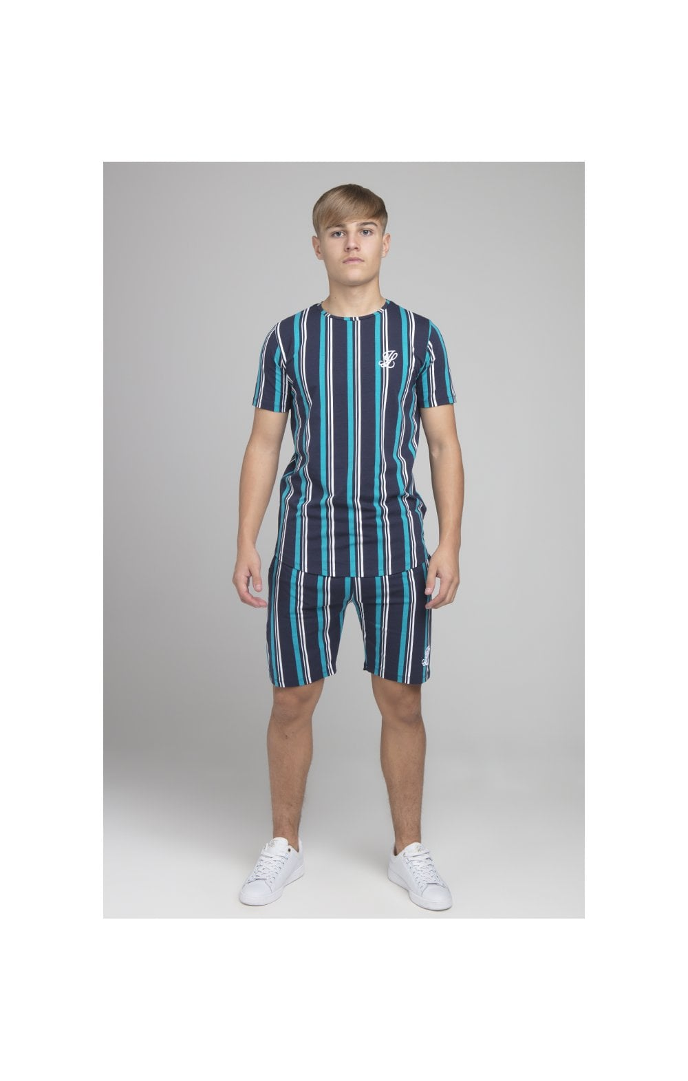 Load image into Gallery viewer, Illusive London Stripe Tee - Navy & Teal (3)