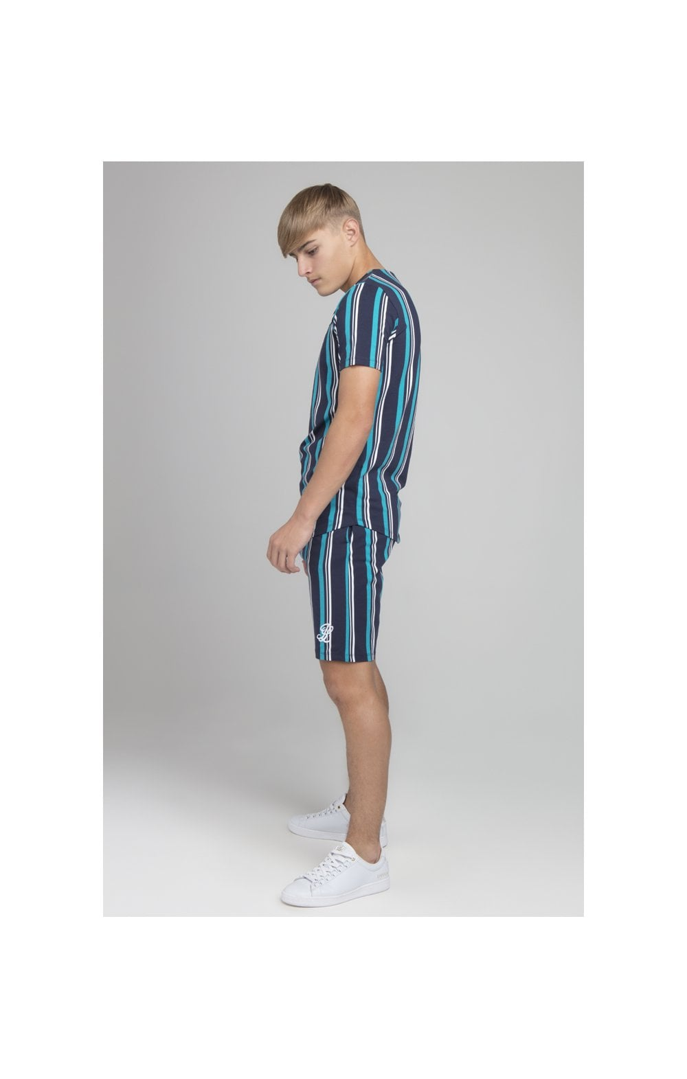 Load image into Gallery viewer, Illusive London Stripe Tee - Navy & Teal (4)