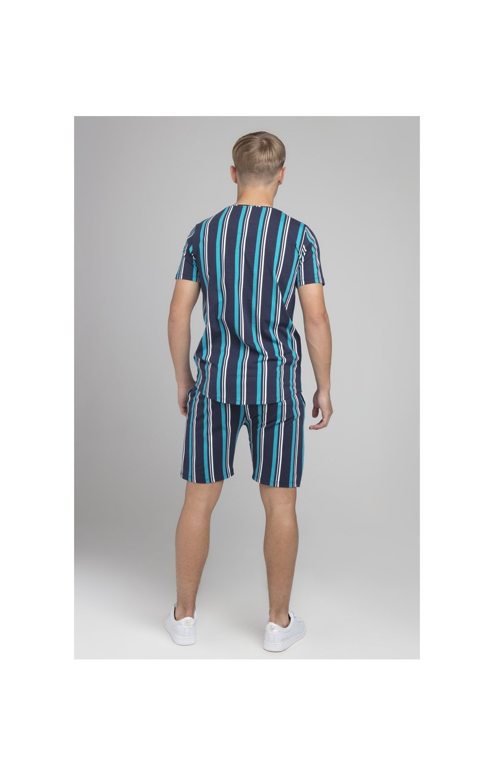 Load image into Gallery viewer, Illusive London Stripe Tee - Navy & Teal (5)