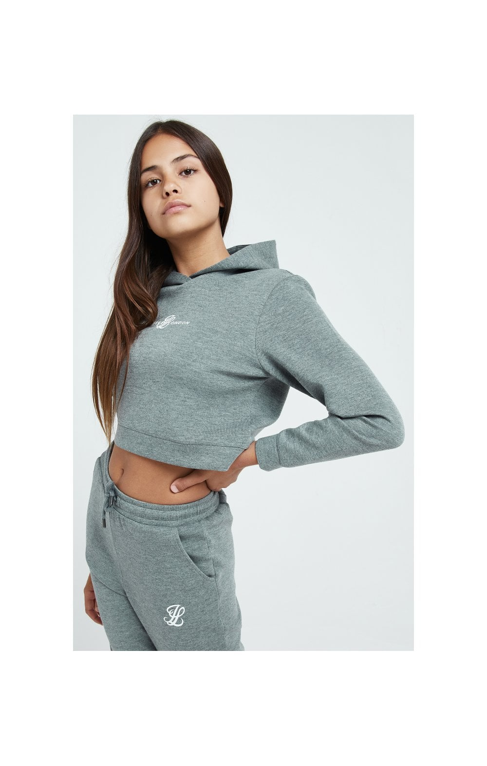 Load image into Gallery viewer, Illusive London Dual Cropped Hoodie - Grey Marl