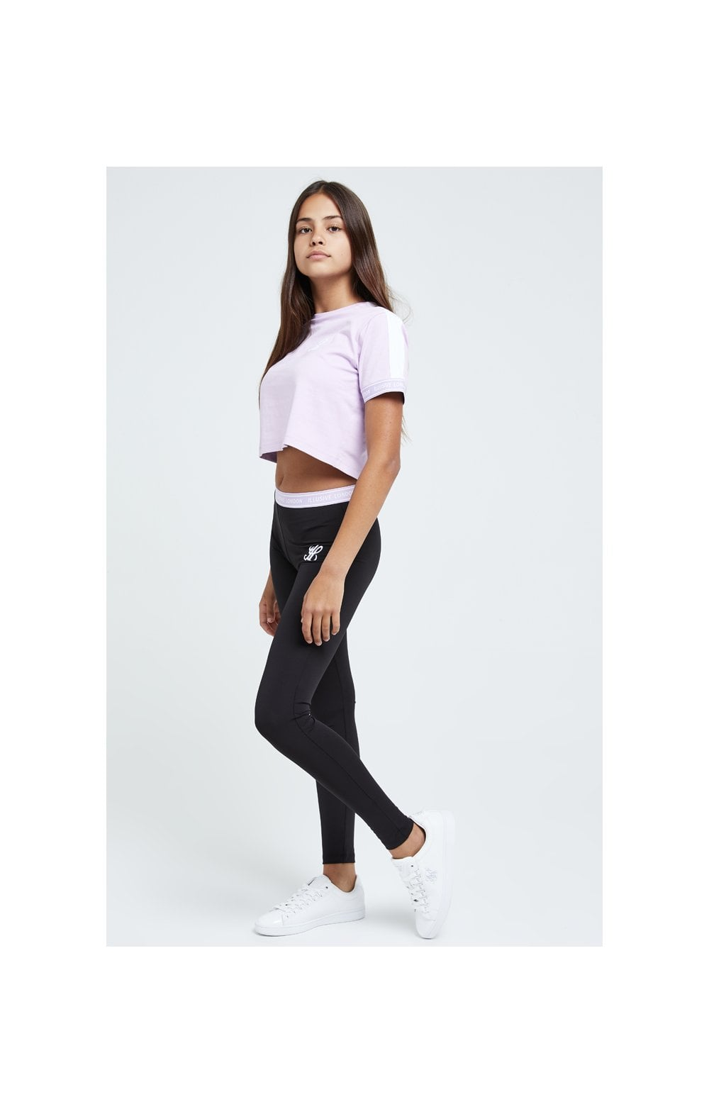 Load image into Gallery viewer, Illusive London Tape Cuff Crop Tee - Lilac (2)