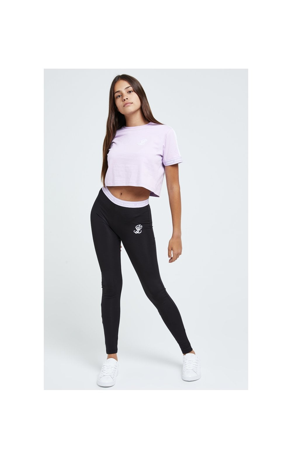 Load image into Gallery viewer, Illusive London Tape Cuff Crop Tee - Lilac (3)