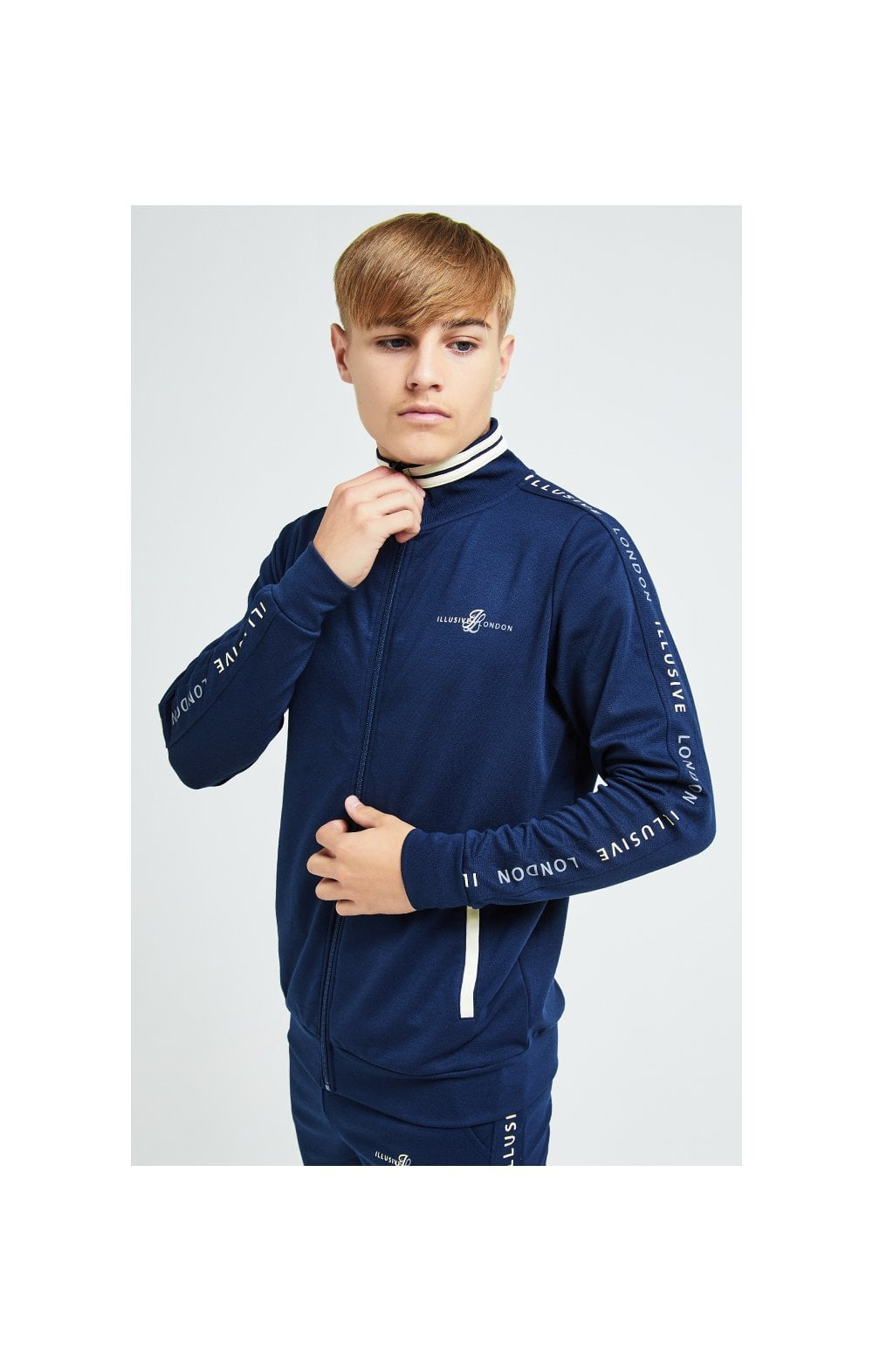 Illusive London Legacy Track Top - Navy & Cream