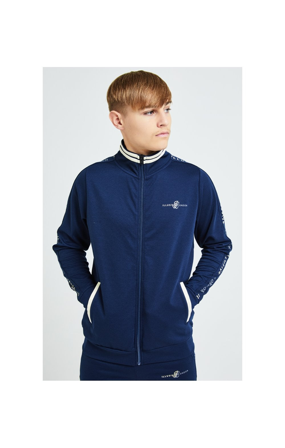 Illusive London Legacy Track Top - Navy & Cream (1)