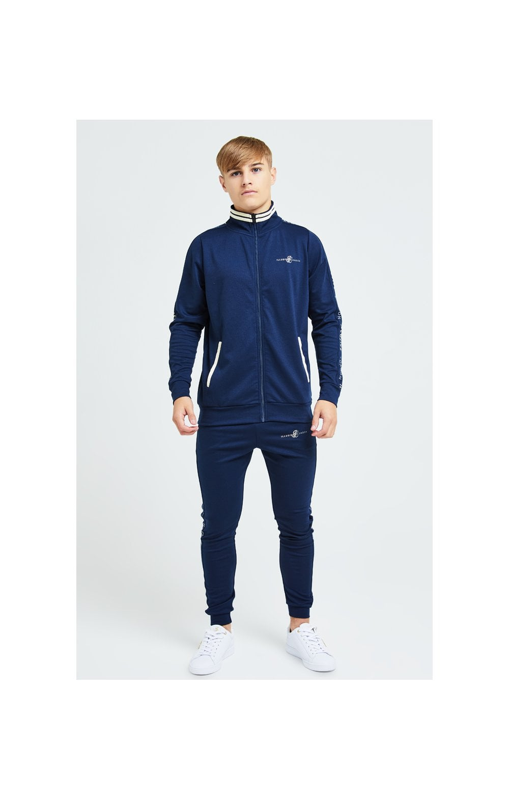 Illusive London Legacy Track Top - Navy & Cream (4)
