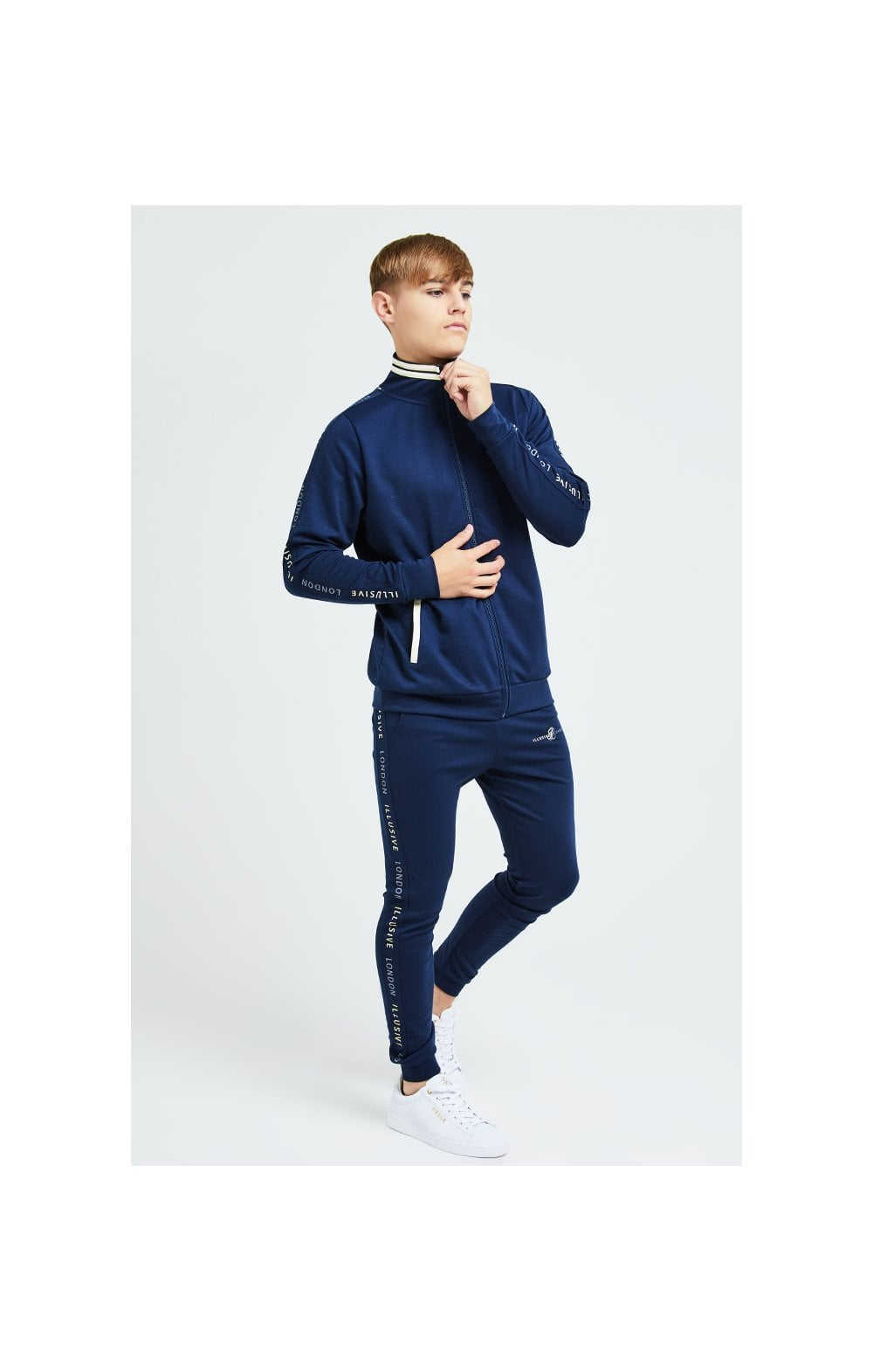 Illusive London Legacy Track Top - Navy & Cream (5)