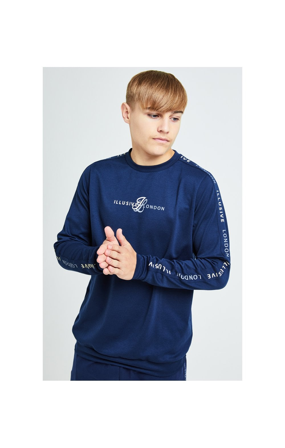 Load image into Gallery viewer, Illusive London Legacy Crew Sweater - Navy & Cream