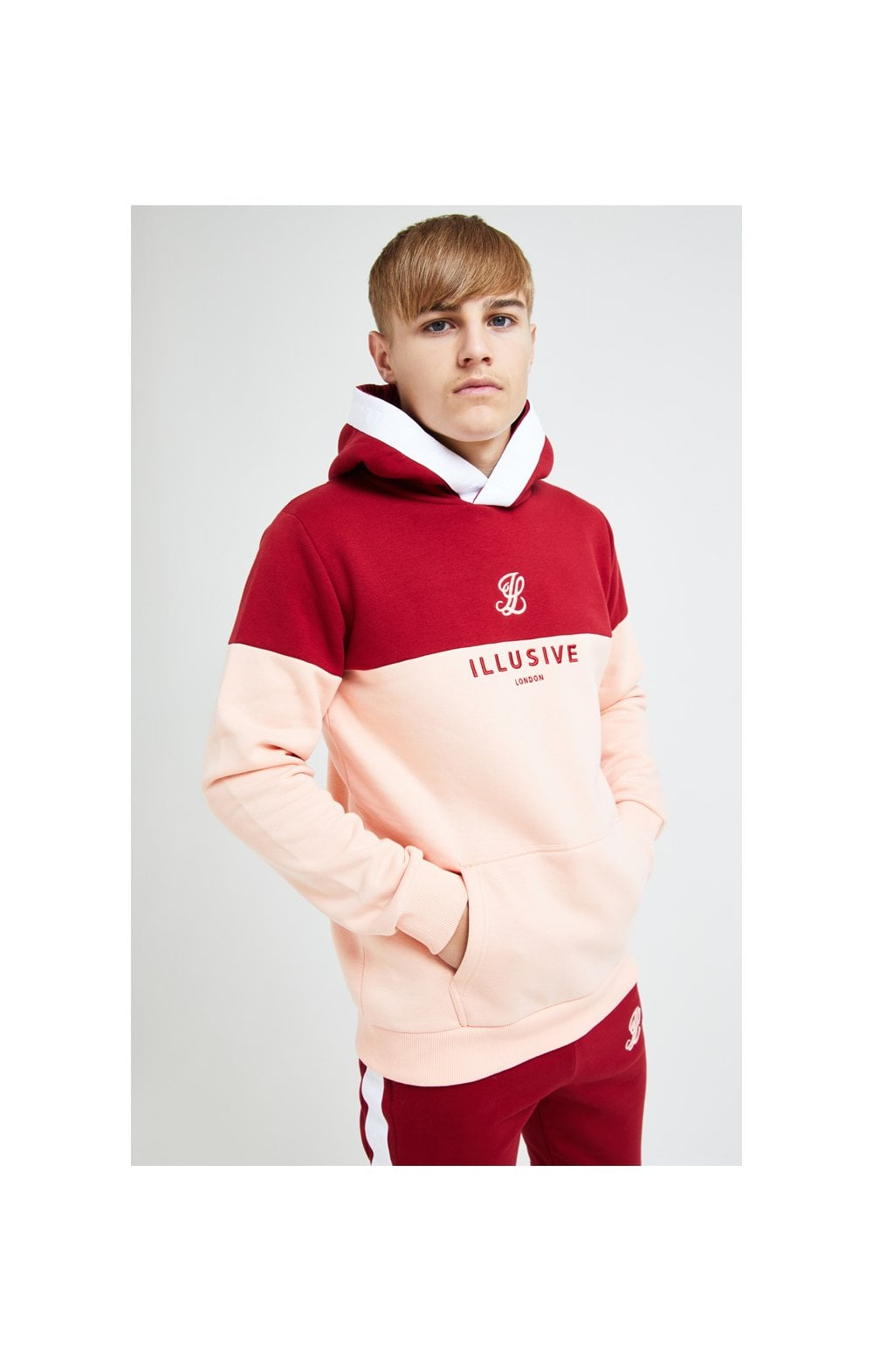 Illusive London Divergence Overhead Hoodie - Red & Pink