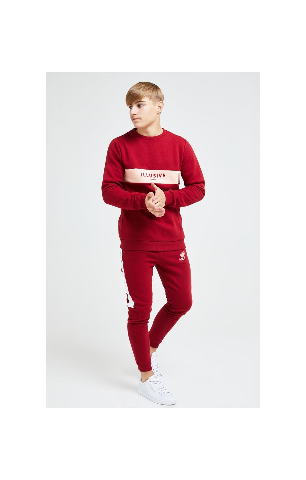 Illusive London Divergence Crew Sweater - Red & Pink (2)