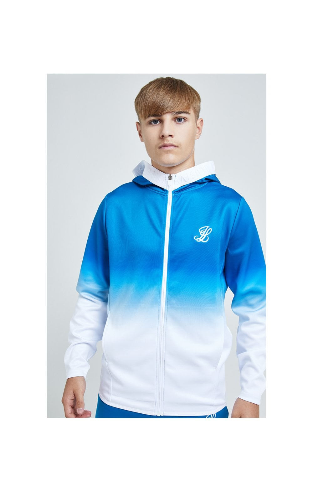 Illusive London Elevate Agility Zip Through Hoodie - Blue & White