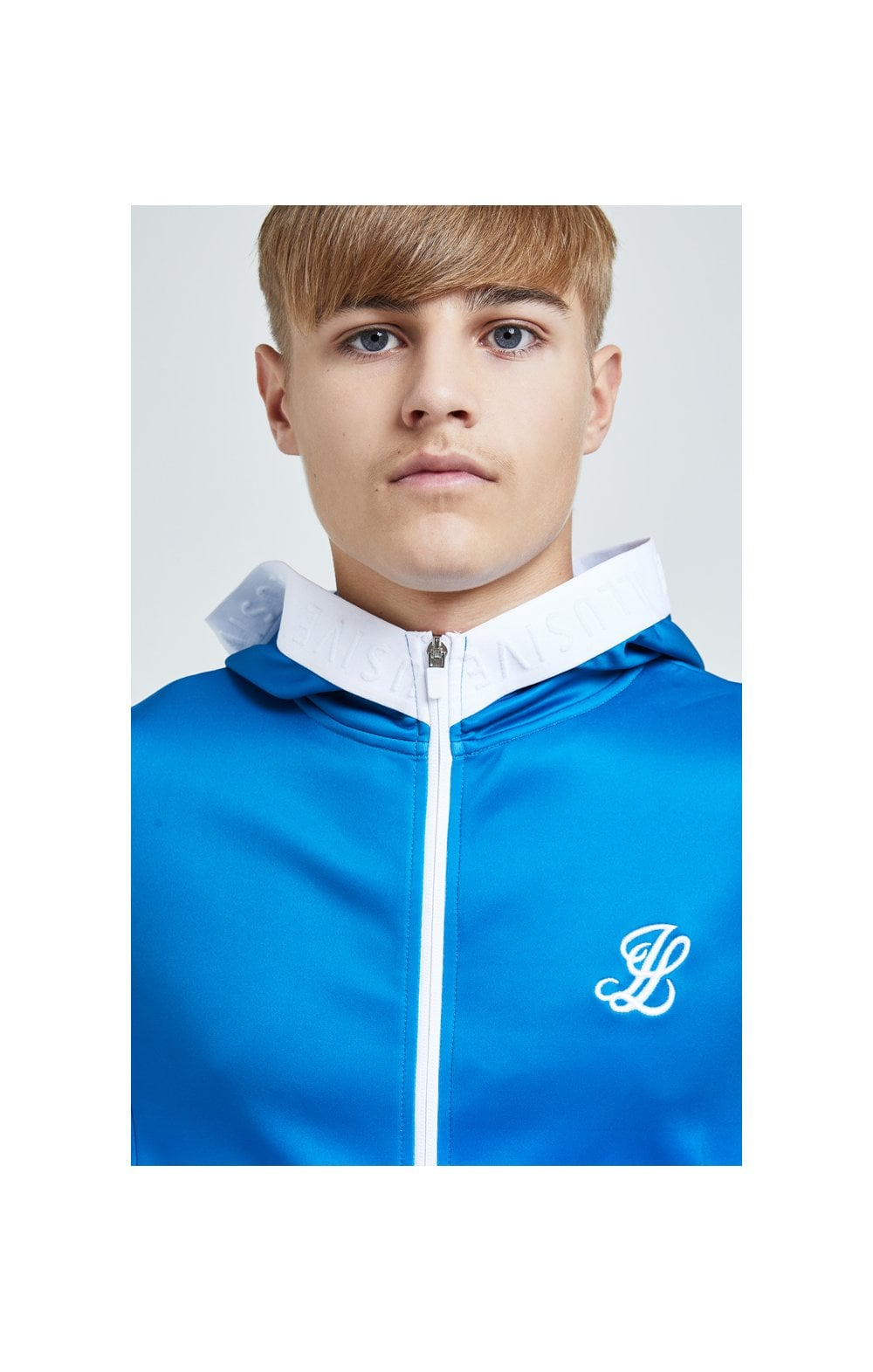 Load image into Gallery viewer, Illusive London Elevate Agility Zip Through Hoodie - Blue & White (1)