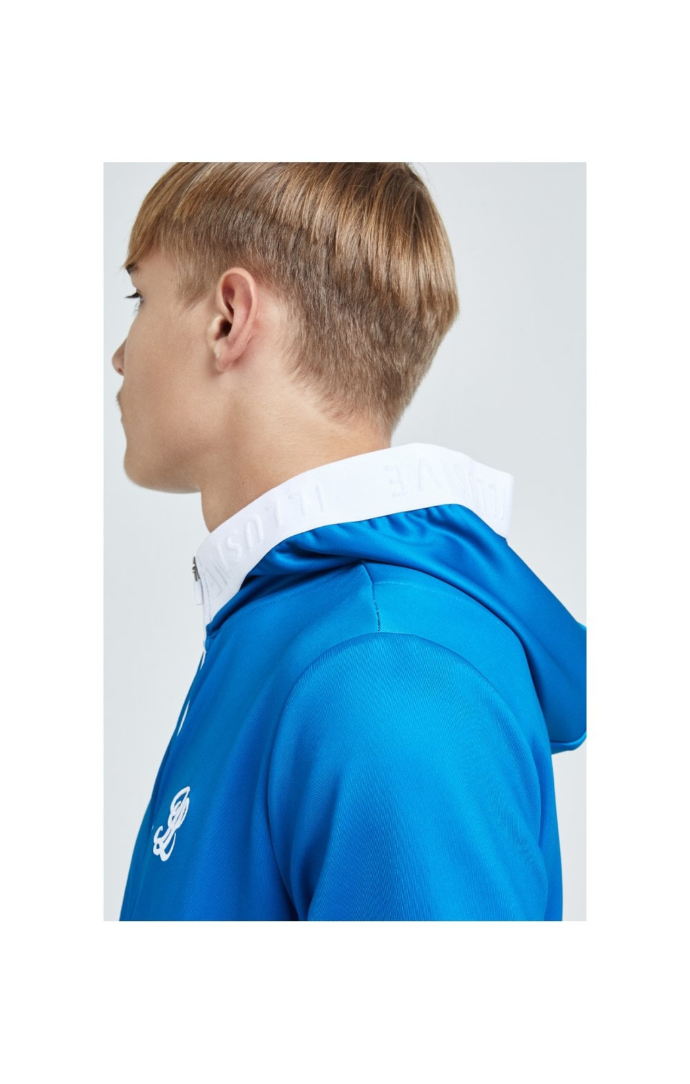 Load image into Gallery viewer, Illusive London Elevate Agility Zip Through Hoodie - Blue & White (2)