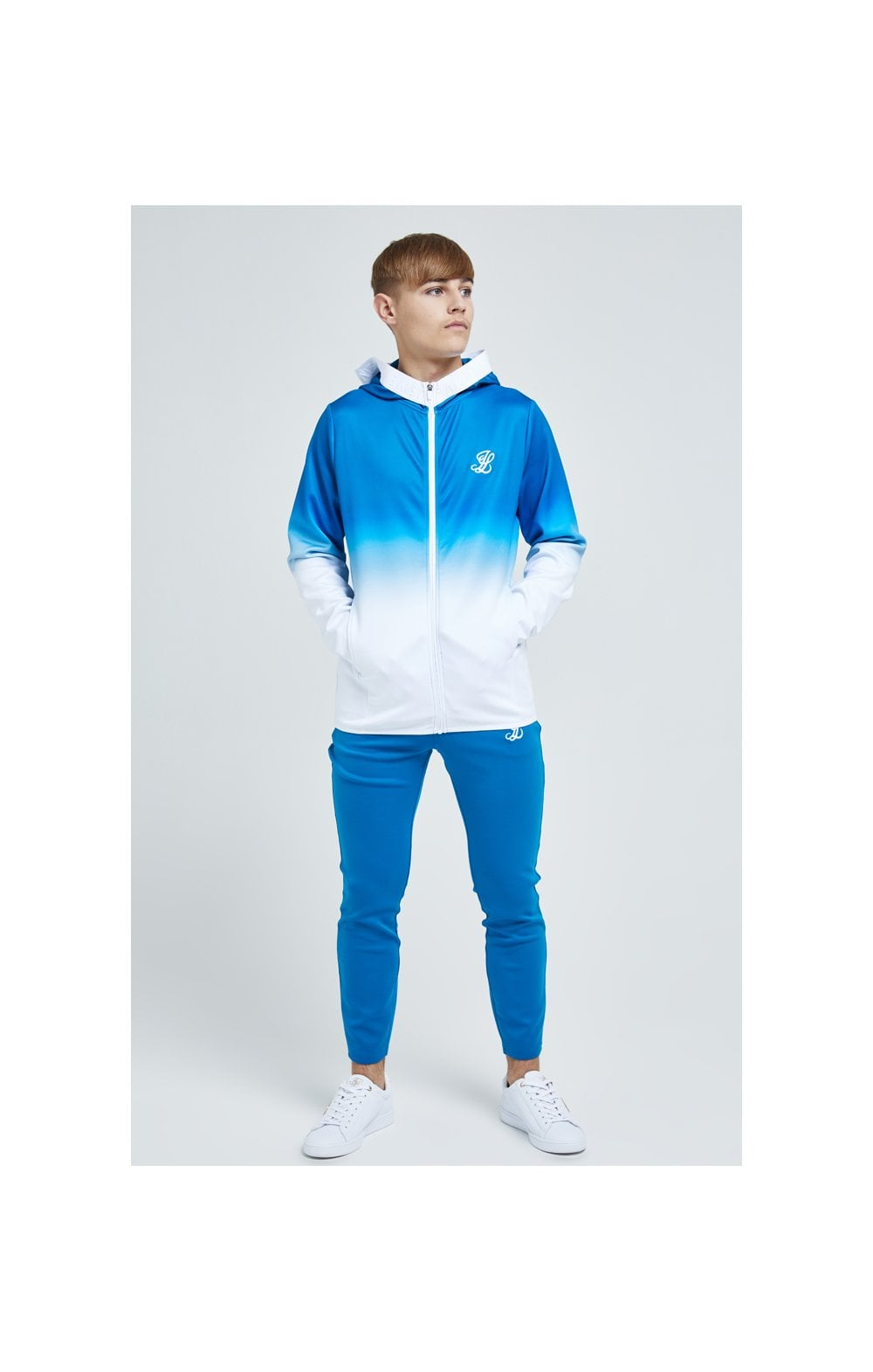 Load image into Gallery viewer, Illusive London Elevate Agility Zip Through Hoodie - Blue & White (4)