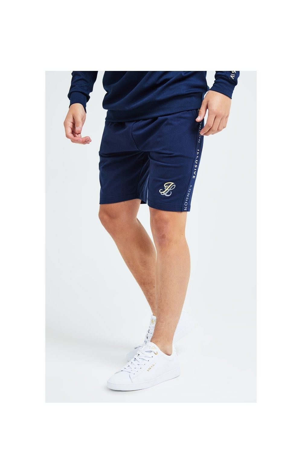 Load image into Gallery viewer, Illusive London Legacy Jersey Shorts -Navy & Cream