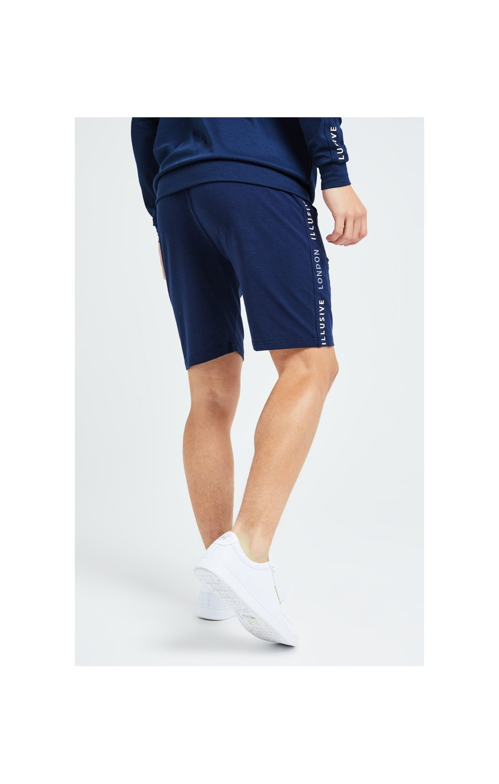 Load image into Gallery viewer, Illusive London Legacy Jersey Shorts -Navy & Cream (2)