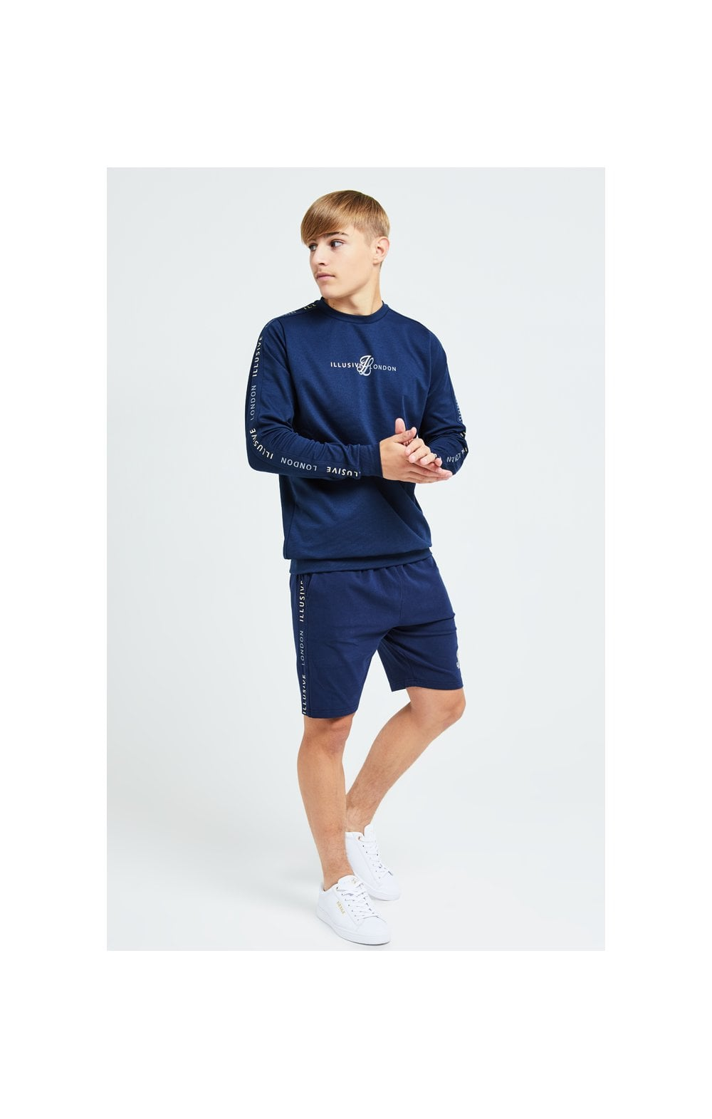 Load image into Gallery viewer, Illusive London Legacy Jersey Shorts -Navy & Cream (3)