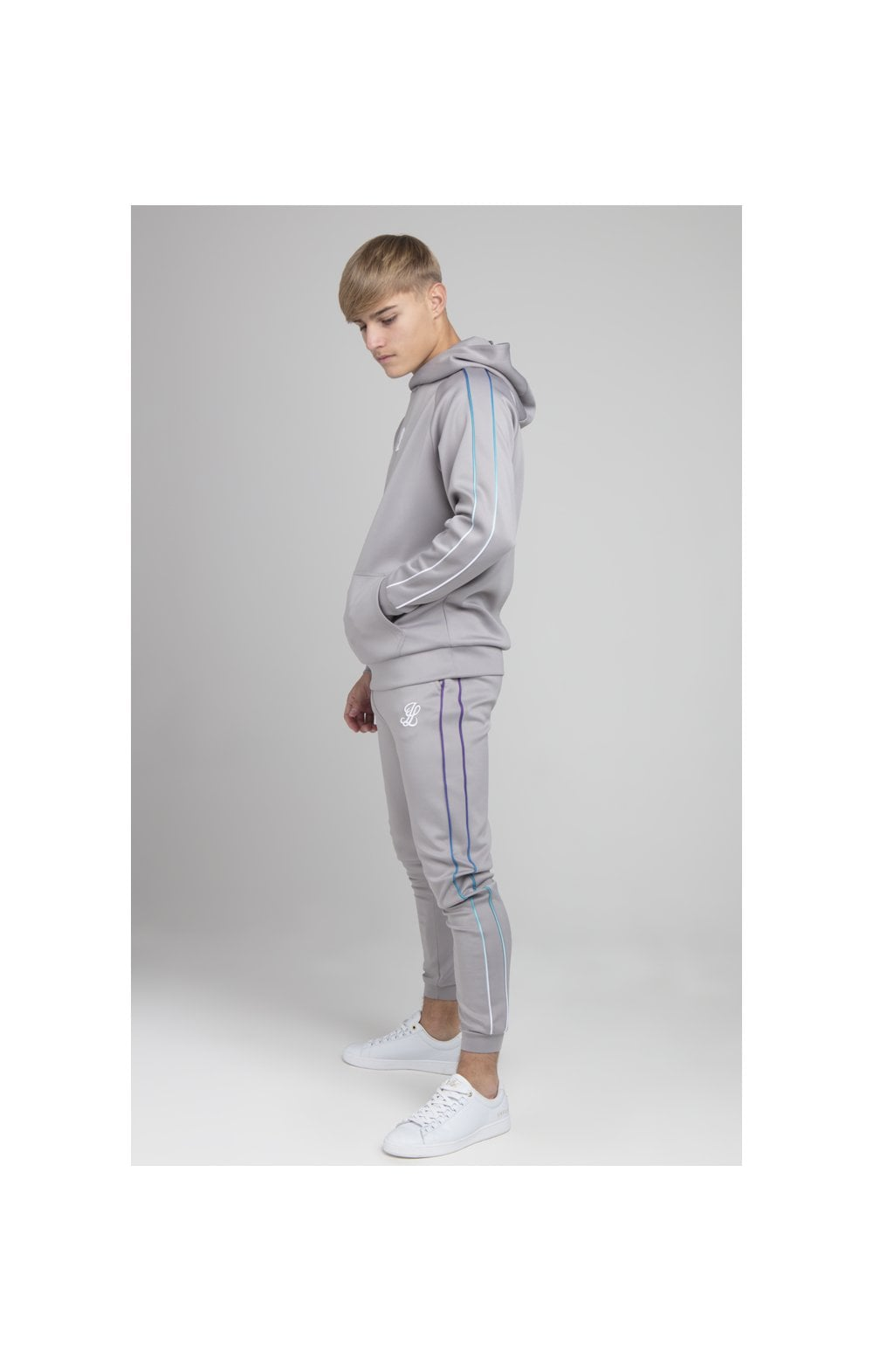 Illusive London Poly Piped Overhead Hoodie - Light Grey (2)