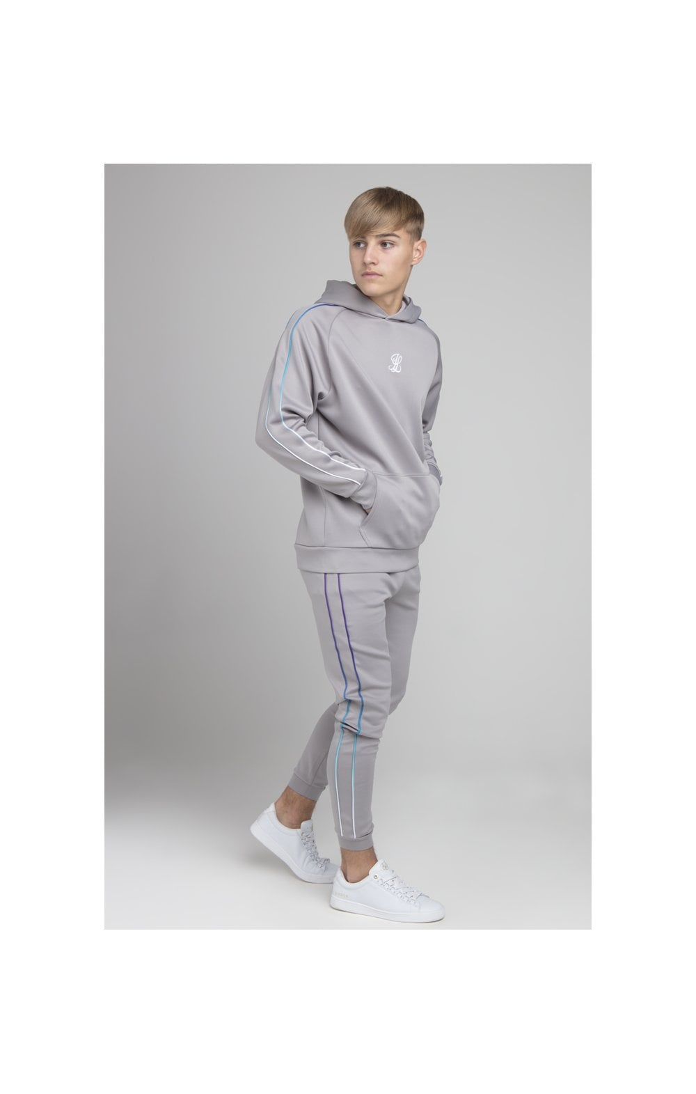 Illusive London Poly Piped Overhead Hoodie - Light Grey (3)