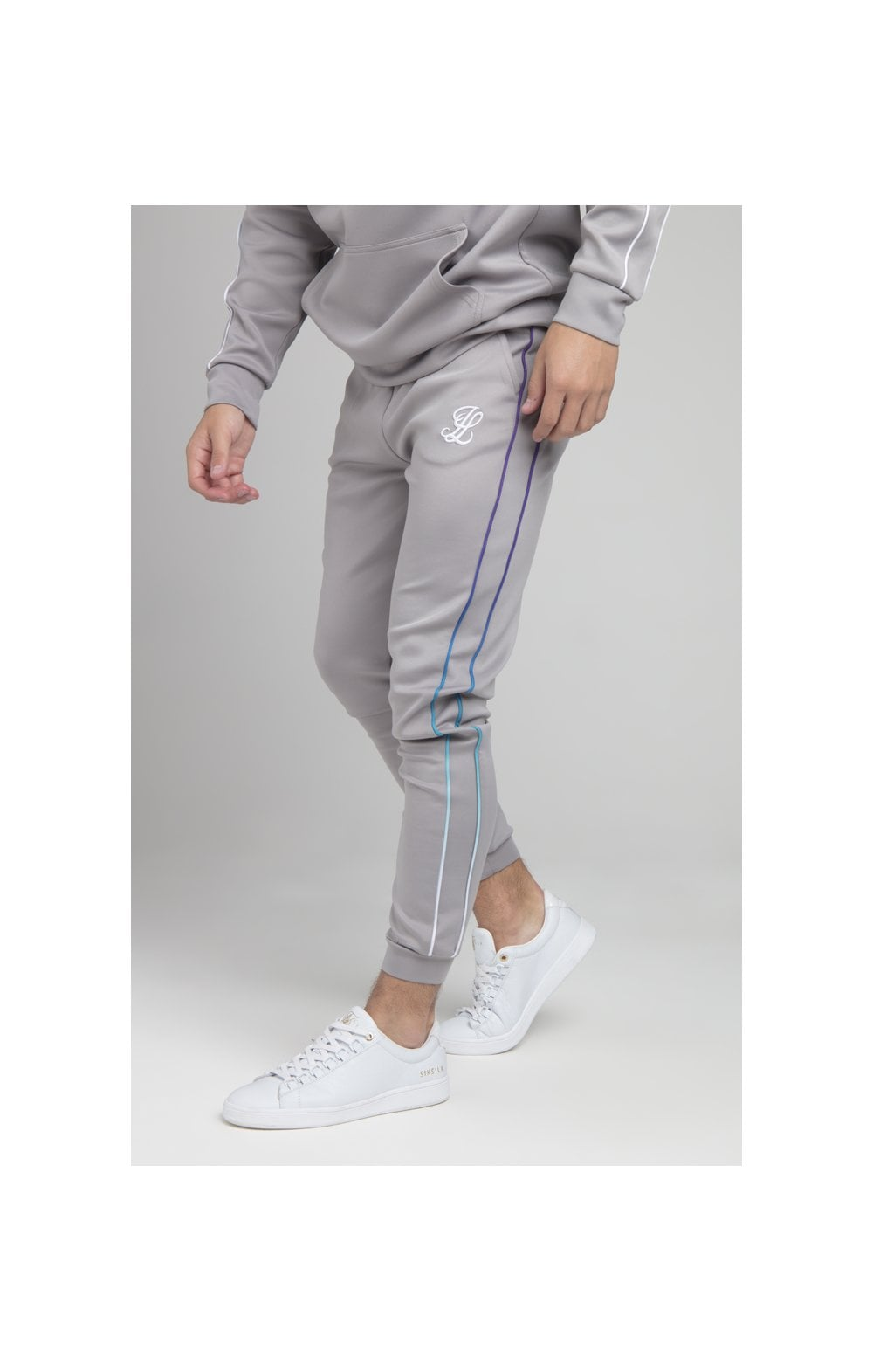 Illusive London Poly Piped Pants - Light Grey