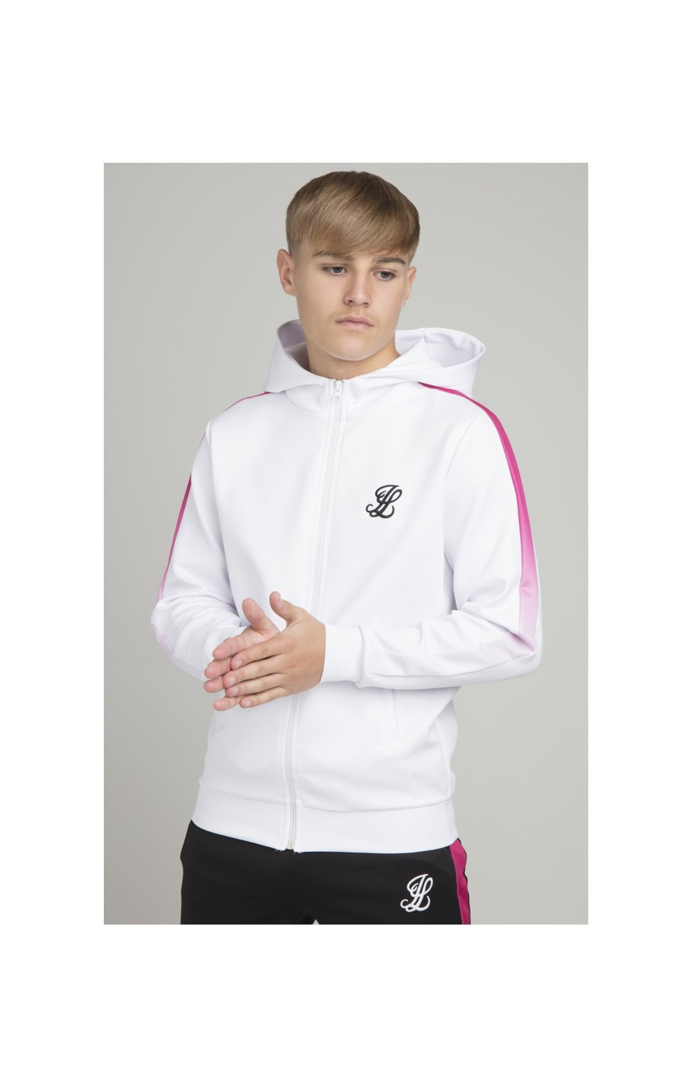 Illusive London Fade Panel Zip Through - White & Pink