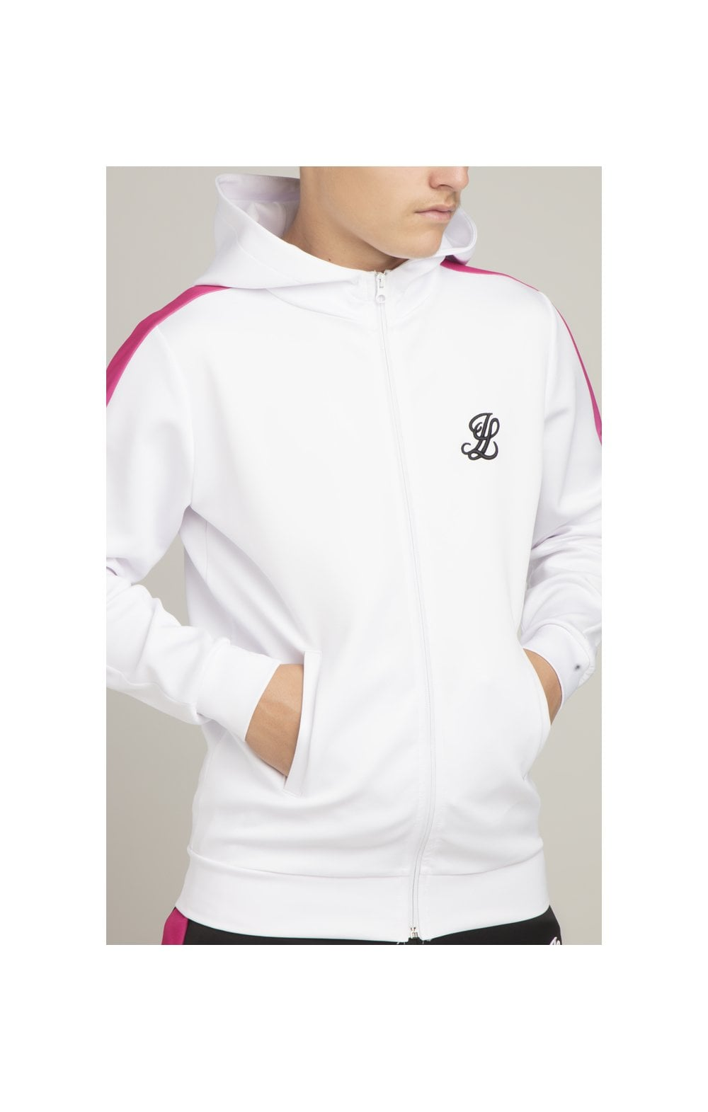 Illusive London Fade Panel Zip Through - White & Pink (1)