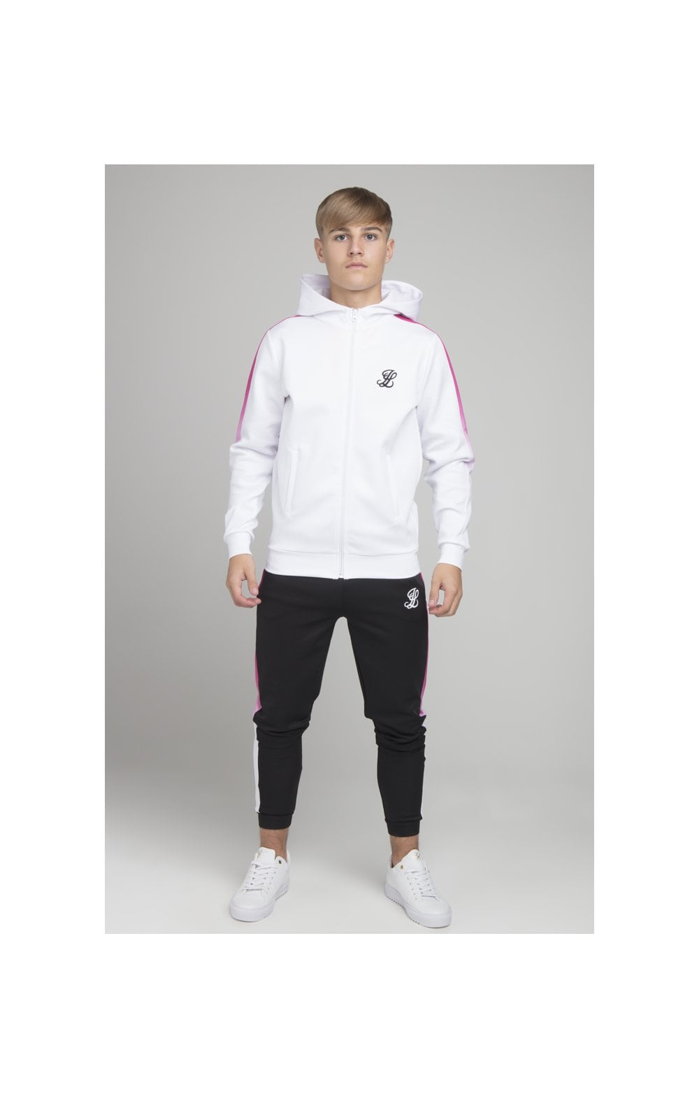 Illusive London Fade Panel Zip Through - White & Pink (3)