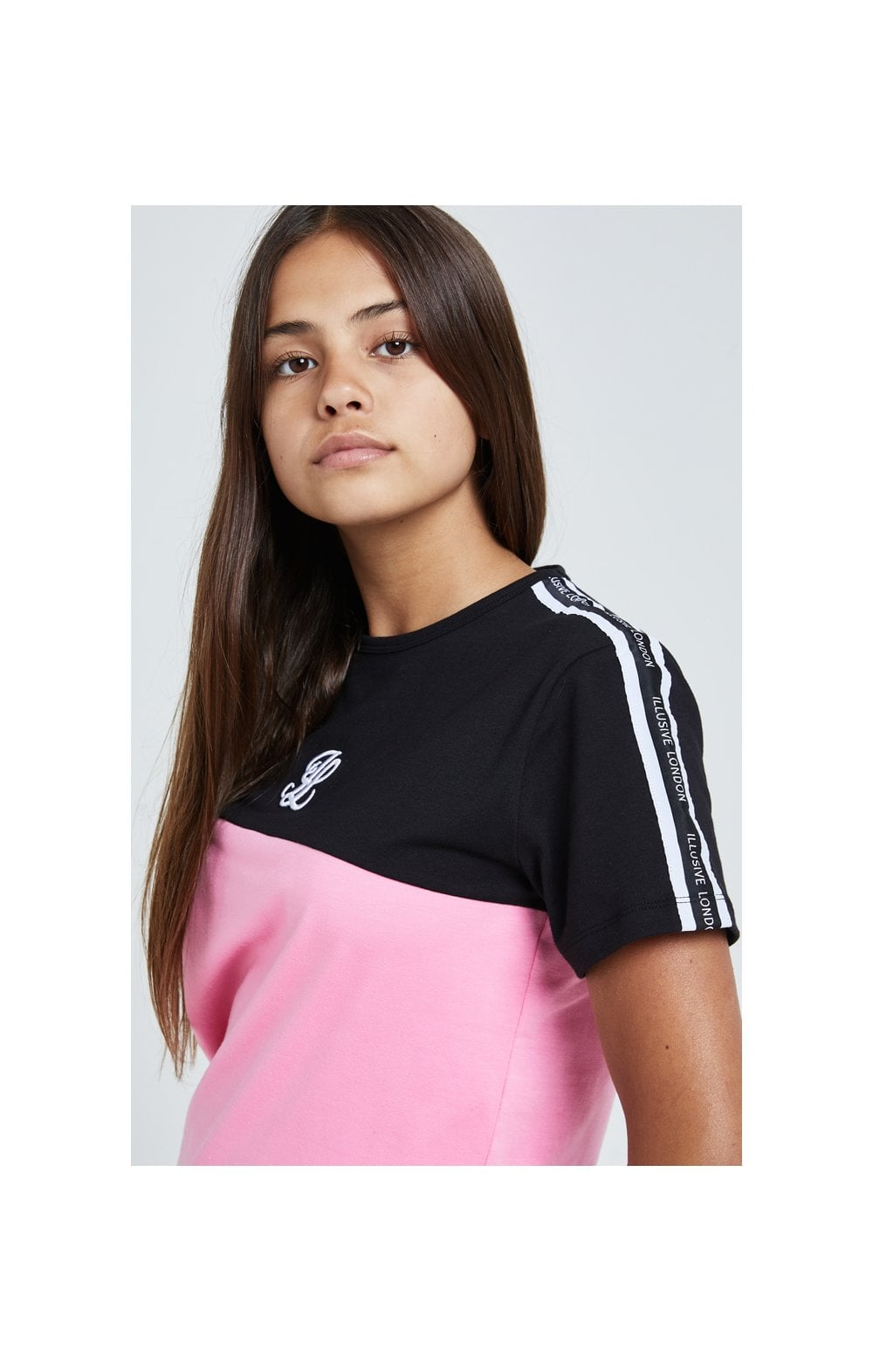 Load image into Gallery viewer, Illusive London Colour Block Tape Tee - Black & Pink (1)