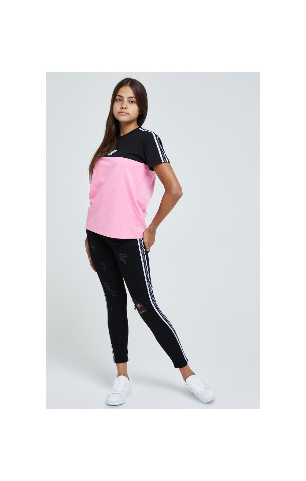 Load image into Gallery viewer, Illusive London Colour Block Tape Tee - Black & Pink (2)
