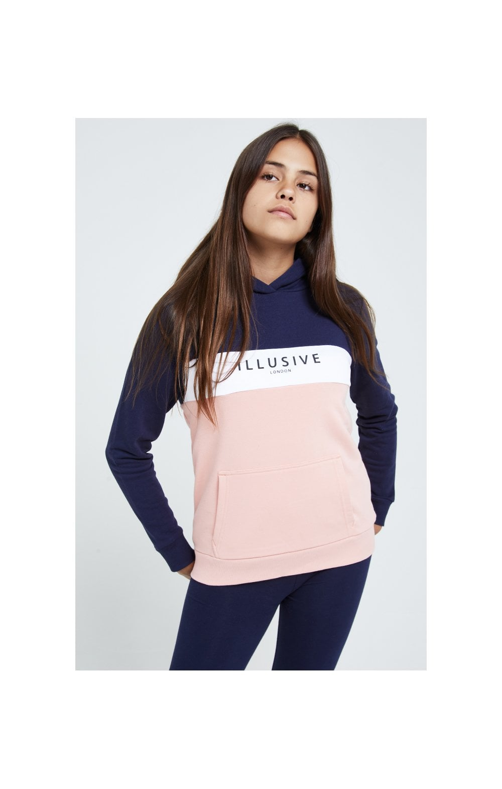 Illusive London Colour Block Hoodie - Navy & Pink (1)