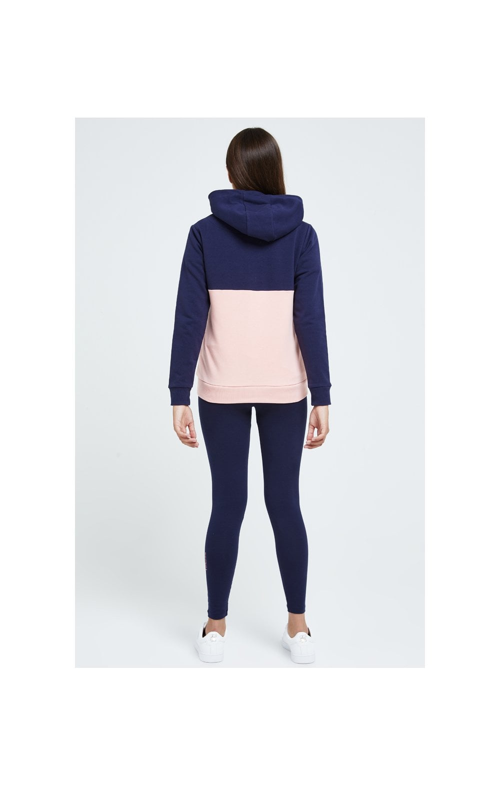 Illusive London Colour Block Hoodie - Navy & Pink (4)