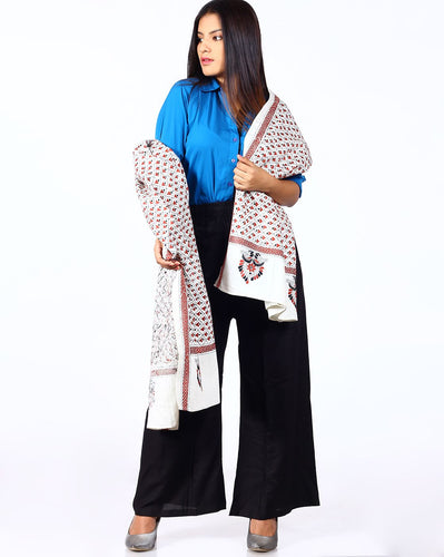 White Brown Kantha Embroidered Cotton Dupatta
