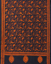 Load image into Gallery viewer, Stunning Black Orange Kantha Embroidered Cotton Dupatta - Arteastri