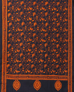 Stunning Black Orange Kantha Embroidered Cotton Dupatta - Arteastri