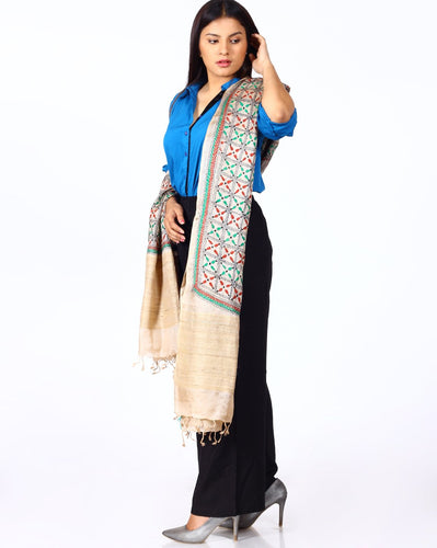 Beautiful Beige Green Silk Hand Kantha Dupatta - Arteastri