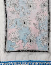 Load image into Gallery viewer, Beautiful White Cotton Floral Kantha Stole - Arteastri