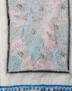 Beautiful White Cotton Floral Kantha Stole - Arteastri