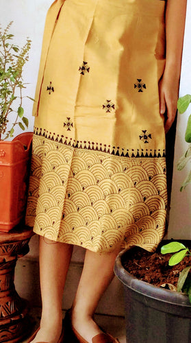 Beige Kantha Stitch Mid Length Wrap Skirt - Arteastri
