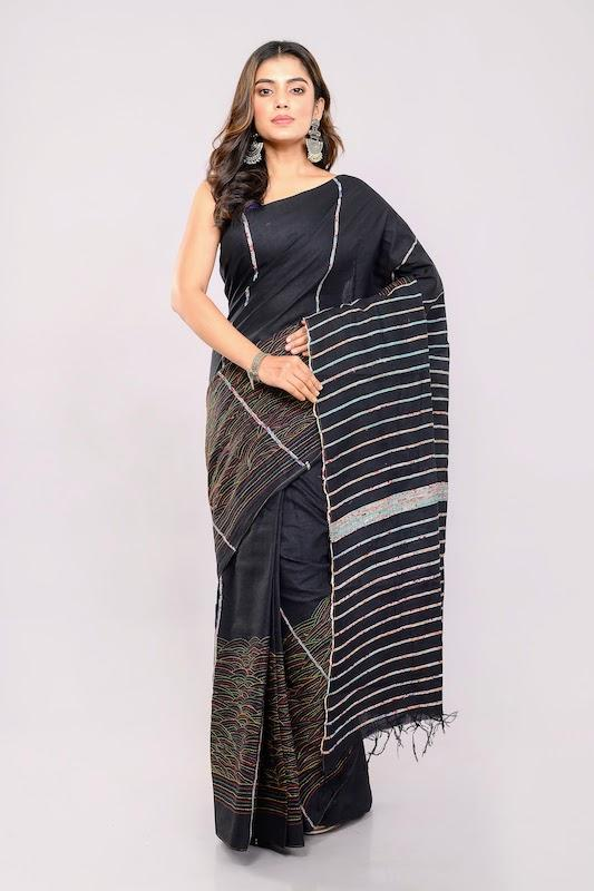 Black Handloom Khesh Kantha Stitch Cotton Saree saree Arteastri