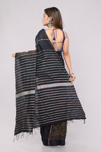 Load image into Gallery viewer, Black Handloom Khesh Kantha Stitch Cotton Saree saree Arteastri