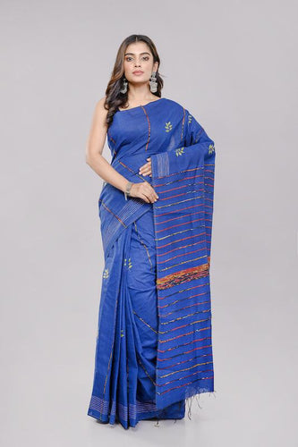 Blue Handloom Khesh Kantha Stitch Cotton Saree saree Arteastri