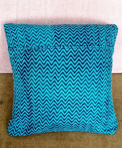 Blue Silk Chevron Kantha Work Cushion Cover - Arteastri