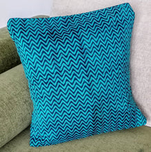 Load image into Gallery viewer, Blue Silk Chevron Kantha Work Cushion Cover - Arteastri
