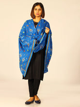 Load image into Gallery viewer, Blue Yellow Feathery Kantha Embroidered Cotton Dupatta - Arteastri