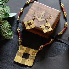 Load image into Gallery viewer, Brass Black Red Square Tribal Jewellery Set JEWELLERY Arteastri
