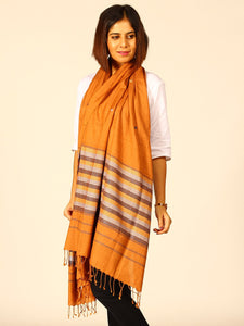 Brown Chevron Handwoven Eri Silk Stole - Arteastri