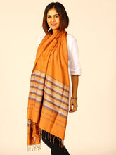 Load image into Gallery viewer, Brown Chevron Handwoven Eri Silk Stole - Arteastri