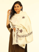 Load image into Gallery viewer, Cream Brown Floral Hand Kantha embroidered Shawl - Arteastri