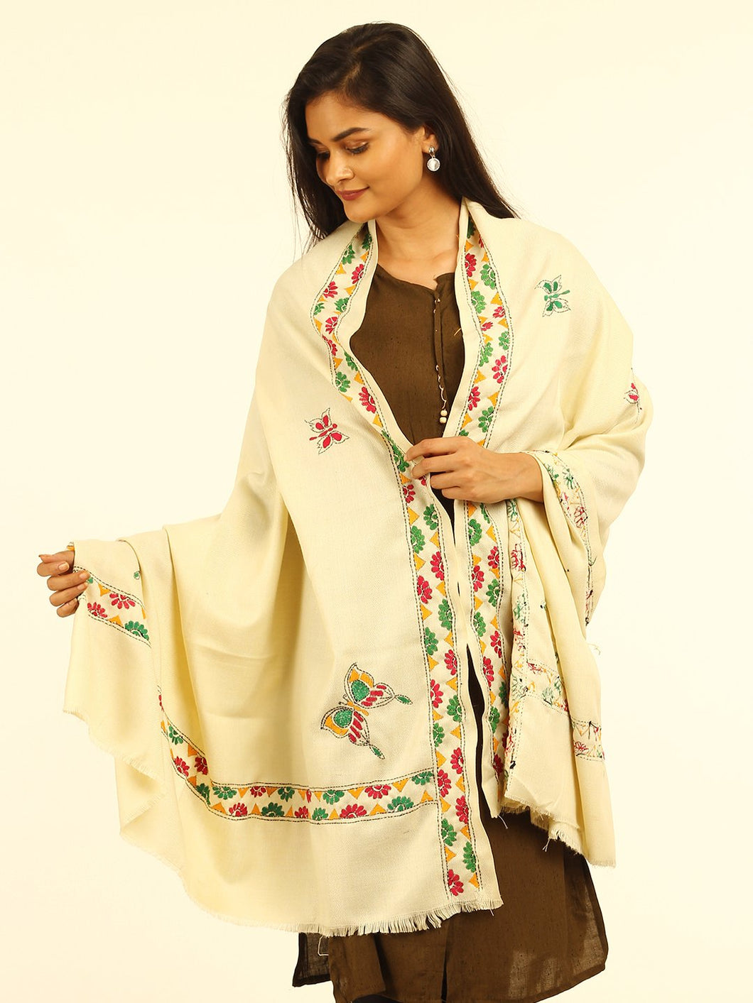 Cream Butterfly Hand Kantha Embroidered Shawl - Arteastri