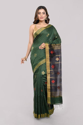 Dark Green Black Handloom Matka Silk Jamdani Saree - Arteastri